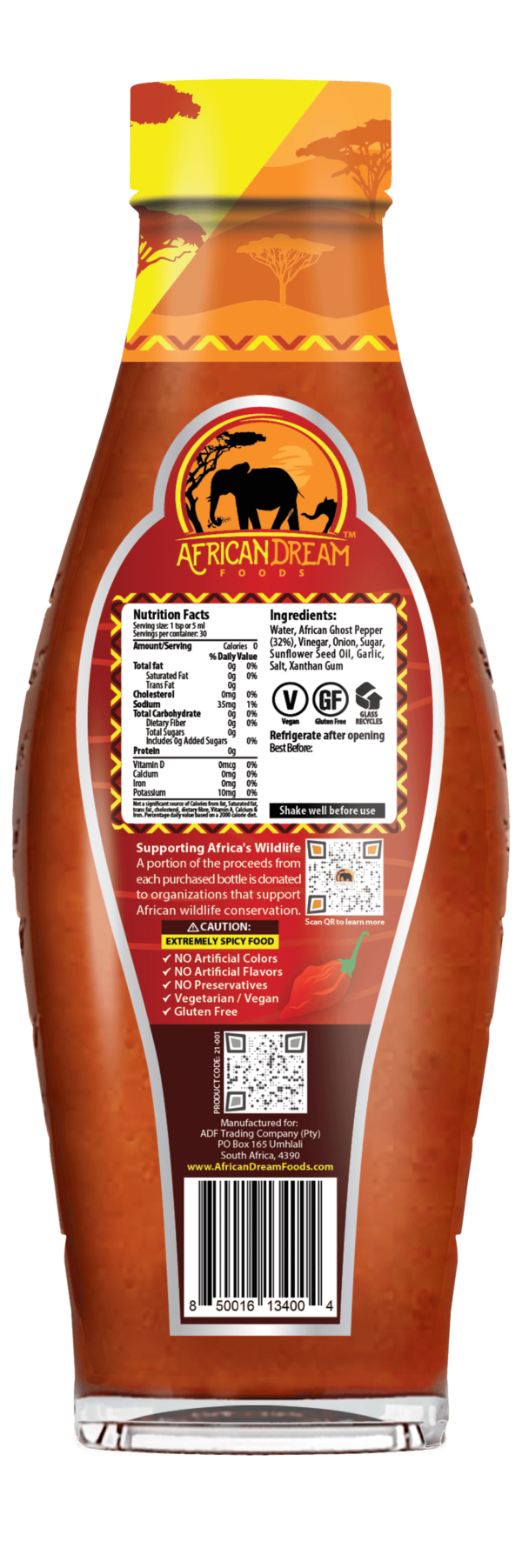 African Ghost Pepper Hot Sauce Back view